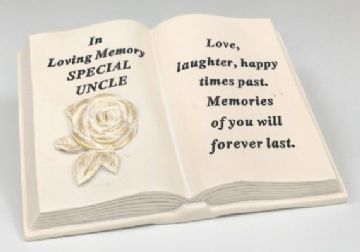 Memorial BOOK with Tribute Verse - ROSE Design SPECIAL UNCLE